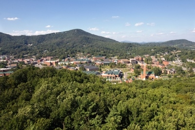 Aerial view of Appalachian State campus