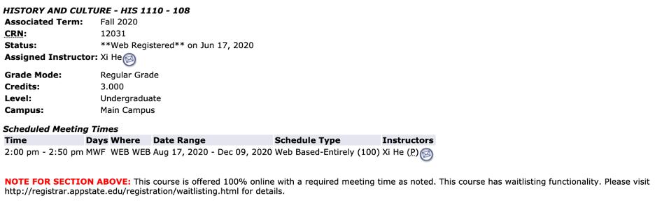 Student Detail Schedule in Appalnet