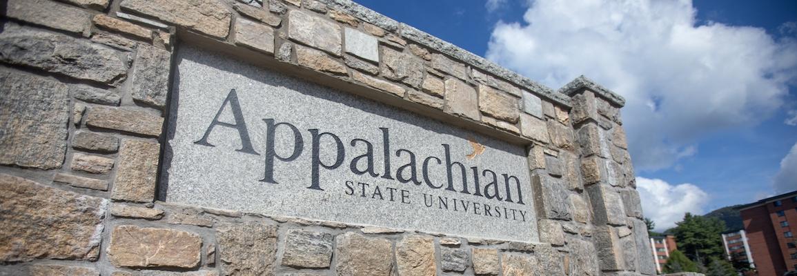 Appalachian State University sign